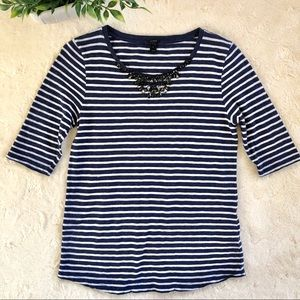 J Crew jeweled blue white striped tee shirt a7631